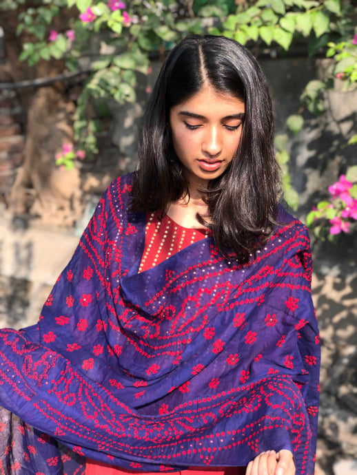 Bandhej Purple Mirror Work Cotton Dupatta