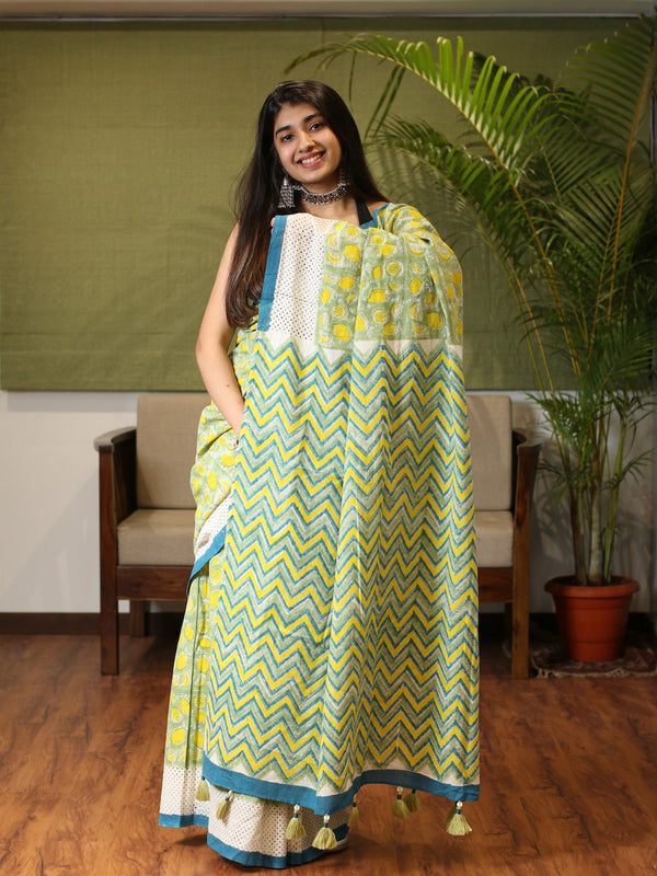 Quirky Hand Block Printed Handwoven Cotton Saree