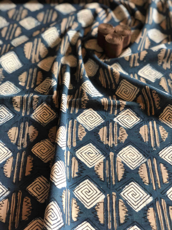Indigo Geometric Block Print Fabric