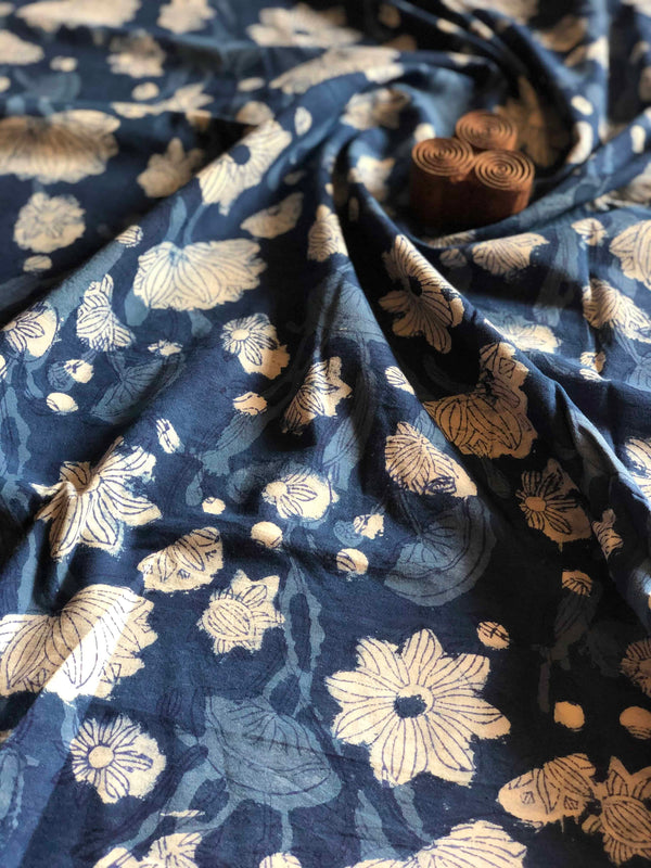 Indigo Flower Garden Block Print Fabric