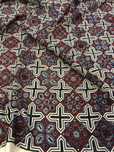 Maroon Abstract Ajrakh Print Kurta Fabric  (3.5m)