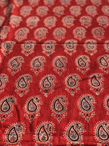 Red Paisley Ajrakh Block Print Fabric
