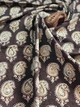 Midnight Paisley Ajrakh Block Print Fabric