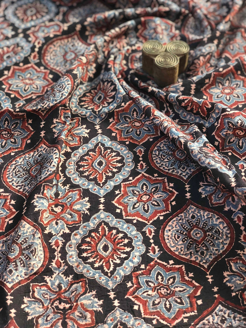 Midnight Ajrakh Block Print Fabric