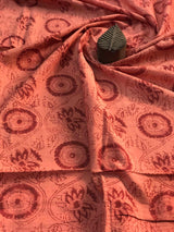 Peach Floral Block Print Fabric