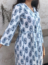 White Indigo Paisley Short Dress