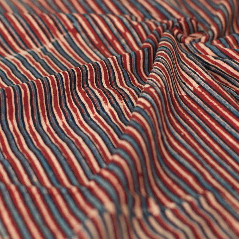 Ajrakh Madder Striped Cotton Fabric