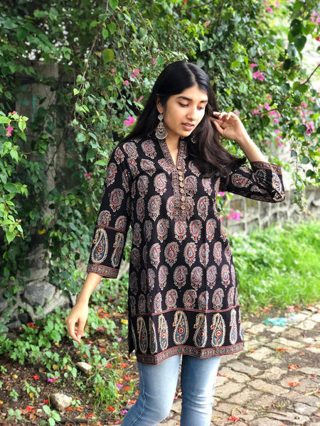 Midnight Paisley Patchwork Short Kurta