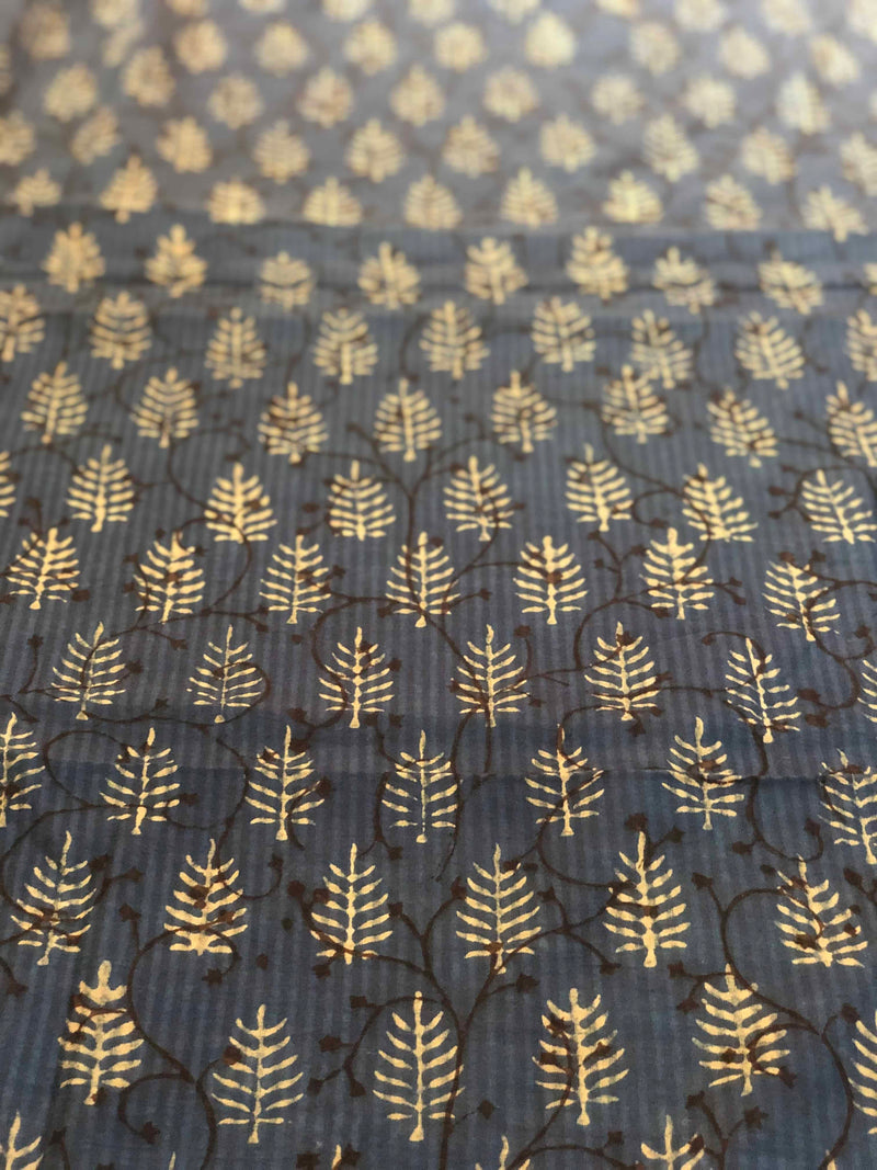 Indigo Phool Aur Jaal Block Printed Fabric