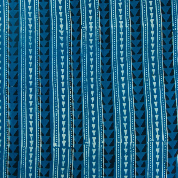 Indigo Triangle Border Cotton Fabric