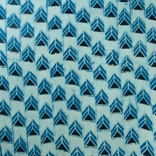 Indigo Geometric Cotton Fabric