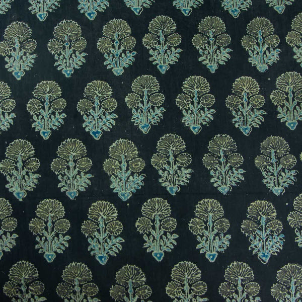 Ajrakh Ash Grey Dahlia Cotton Fabric