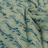 Off White Floral Trail Block Printed Cotton Fabric