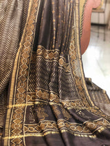 Brown Lines Chanderi Silk 3pc Suit Set