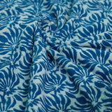 Indigo Floral Border Cotton Fabric