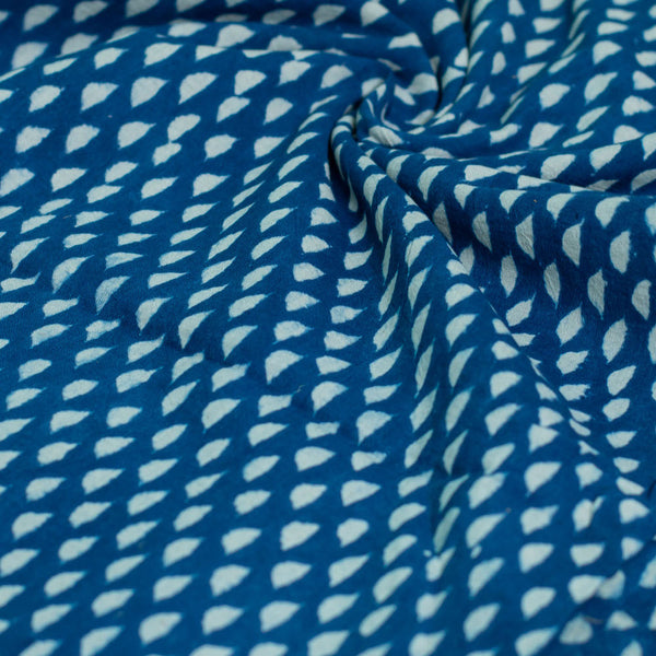 Indigo Triangle Drops Cotton Fabric