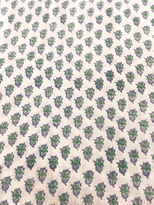 Green Butti Slub Handblock Printed Fabric