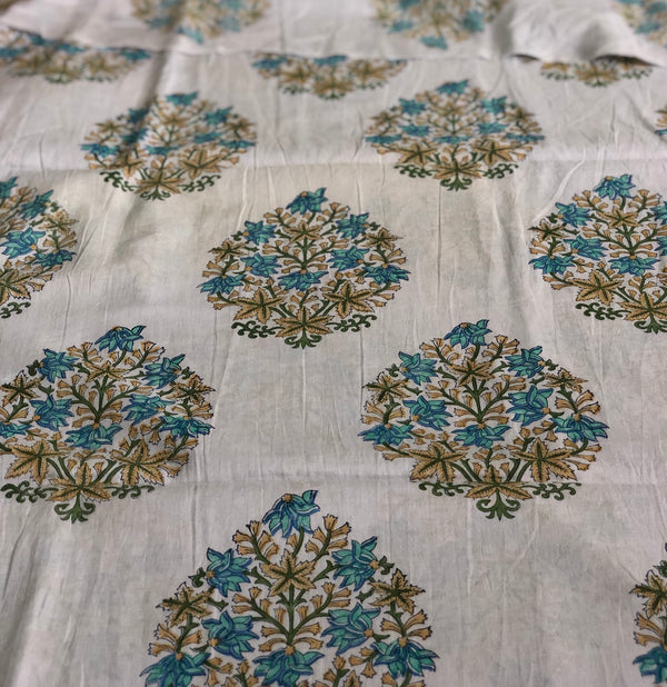 Turquoise Mul Cotton Handblock Printed Fabric