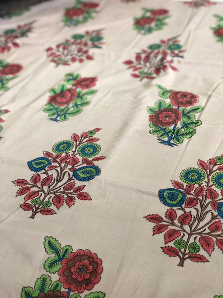 Madder Leela Mul Cotton Handblock Printed Fabric