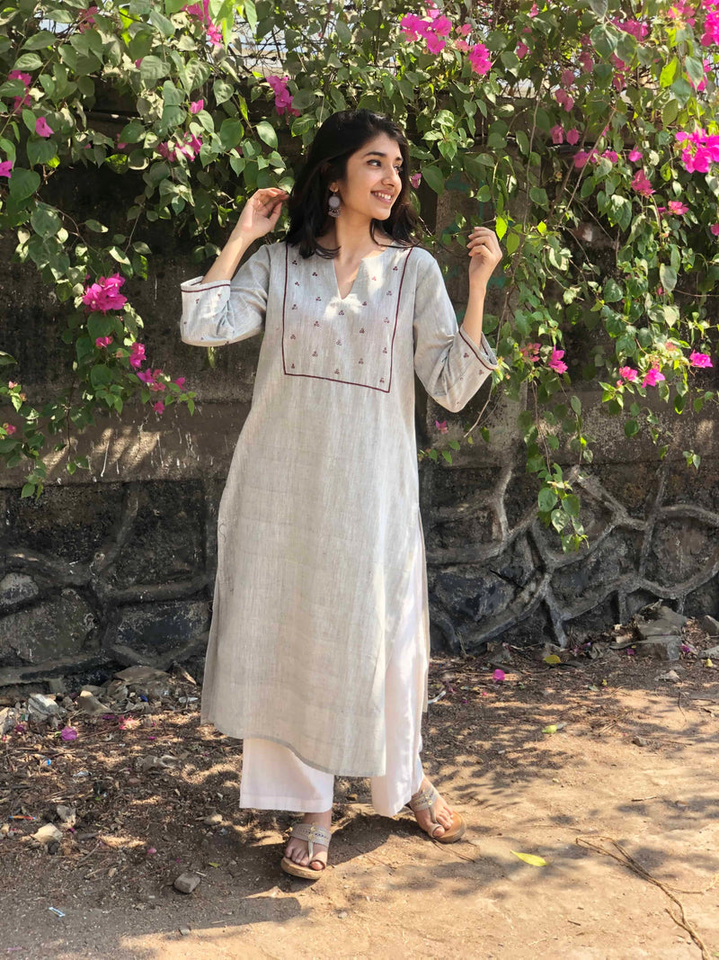 Asmi Mirror Work Handwoven Kurta