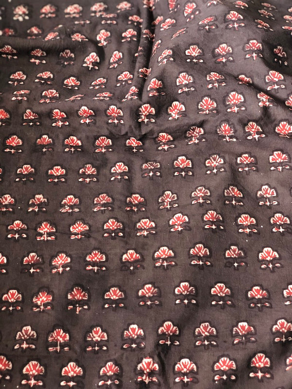 Balotra Traditional Coffee Floral Cotton Fabric