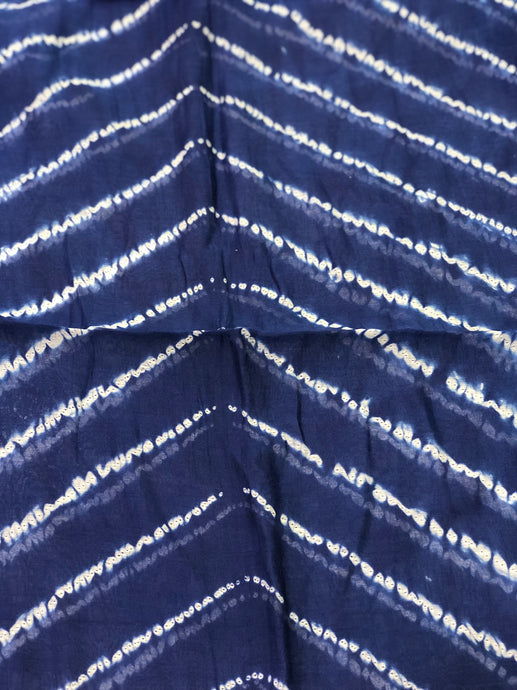 Indigo Chanderi Silk Fabric (2.5 meters)
