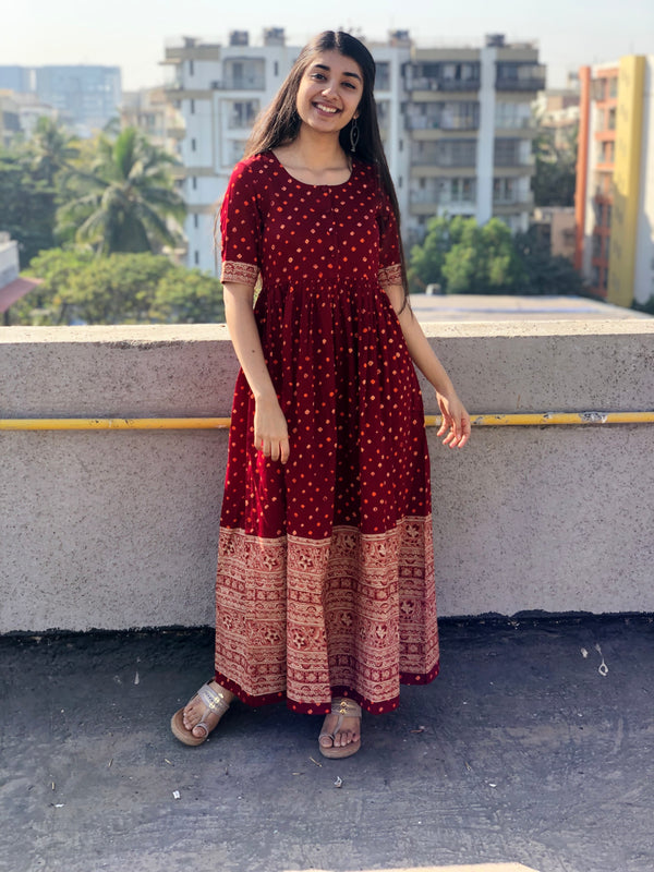 Bandhej Kalamkari Dress