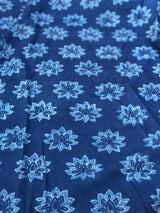 Indigo Dabu Block Printed Cotton Fabric