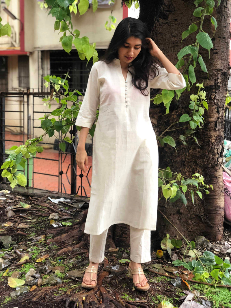 Cream Organic Shell Buttoned Kurta + Pant