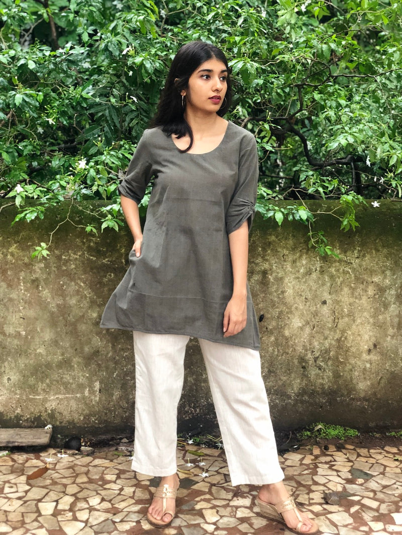 Dark Grey Organic Short Top
