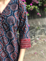 Ajrakh Indigo Short Top