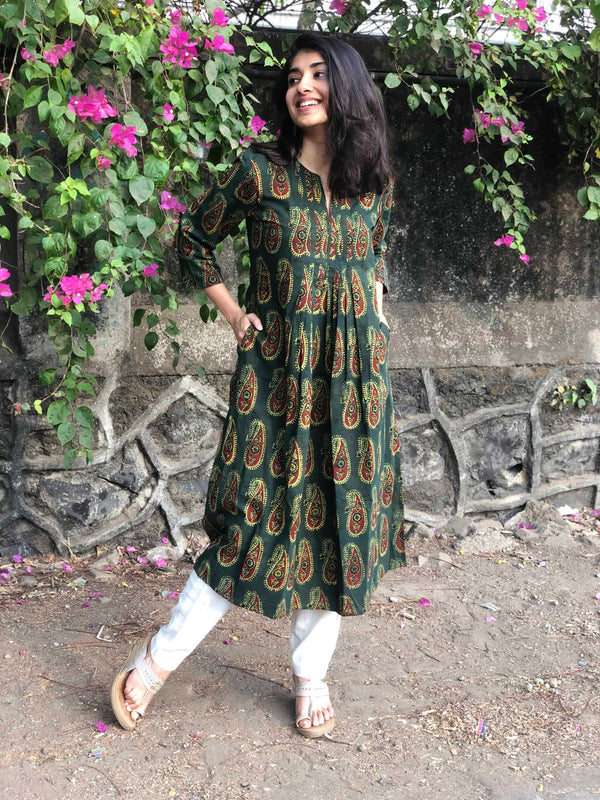 Ajarkh Henna Pleated  Kurta