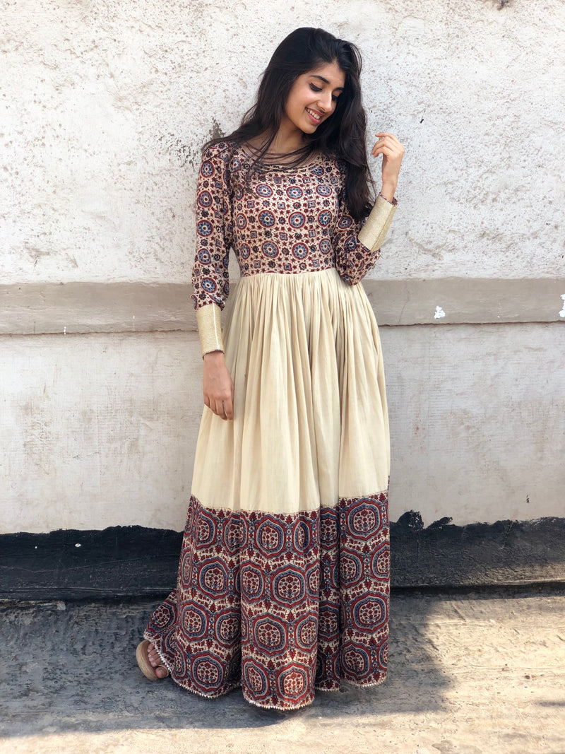 Beige Khadi Long Dress