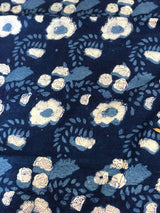 Indigo California Poppy Flower Block Print Fabric