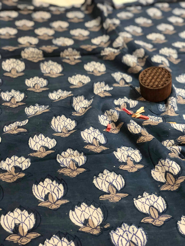 Indigo White Lotus Block Print Fabric