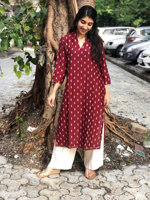Chanderi Silk Zari Butti Kurta