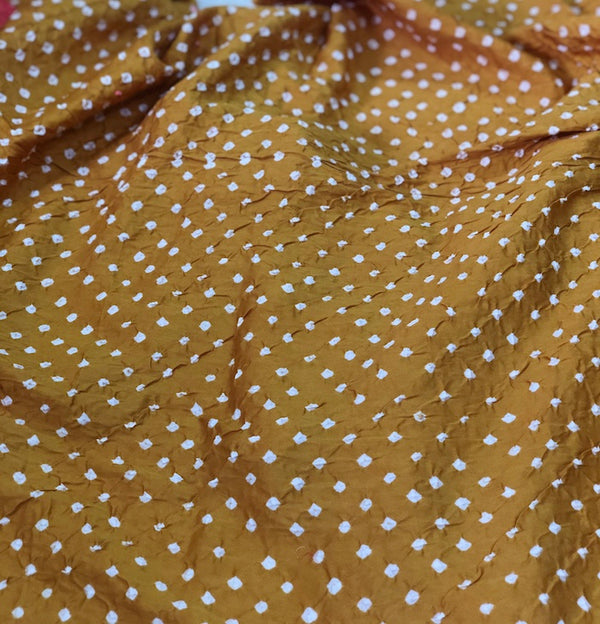 Mustard Brown  Bandhej Kurta Fabric (2.5)
