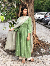Bandhej Mukaish Handwork Kurta + Handwoven Kota Silk Light Green Dupatta
