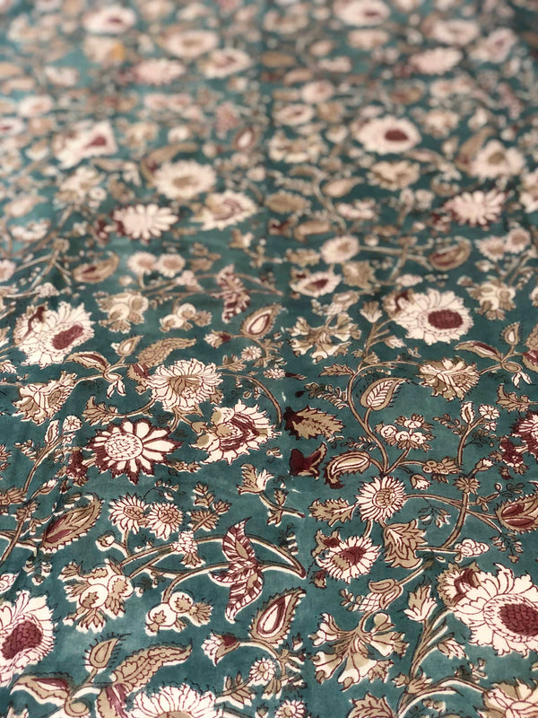 Dark Green Sanganeri Fabric