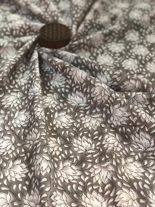 Grey Jaal Sanganeri Fabric