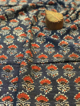 Indigo Small Red Butti Fabric