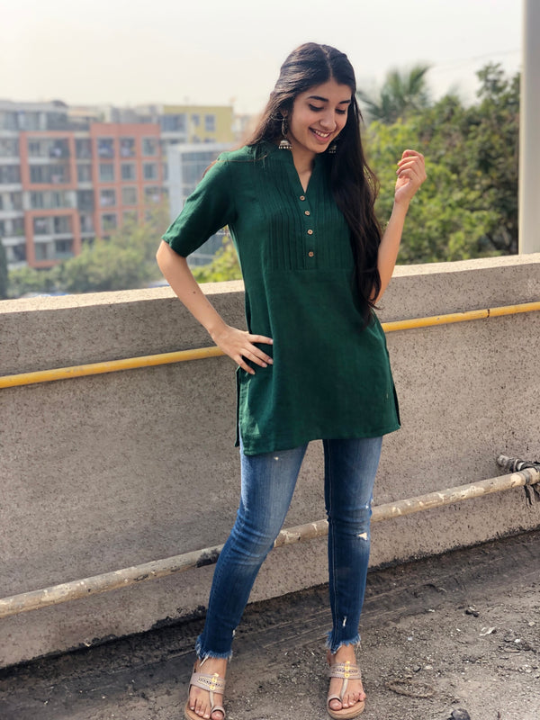 Dark Green Short Kurta
