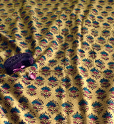 Mustard Ajrakh Butti Fabric