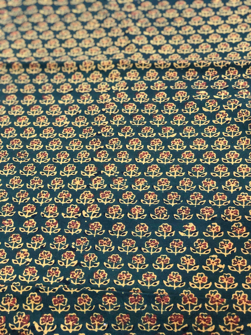 Dark Green + Maroon Butti Block Print Fabric