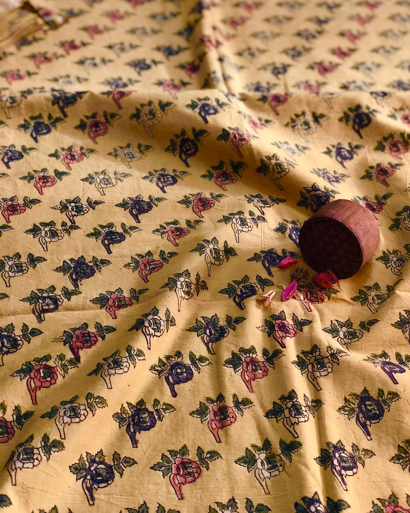 English Rose Block Print Fabric