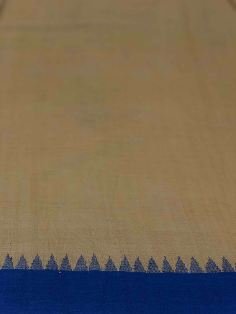 Mustard Indigo Temple Border Malkha Fabric