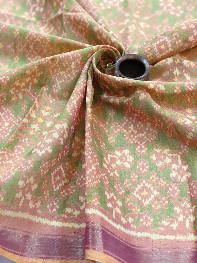 Pink and Green Patola Fabric