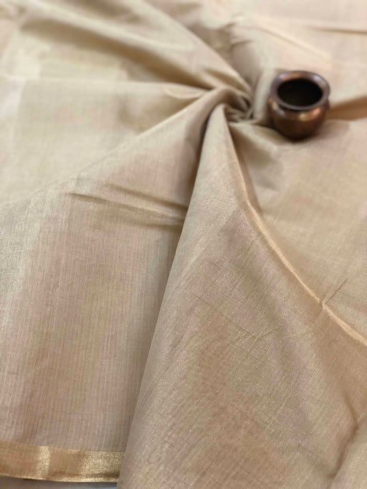 Beige Tissue Chanderi Fabric