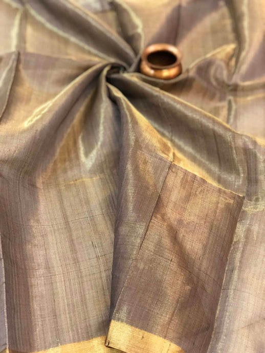 Dark Grey Silk Tissue Chanderi Fabric