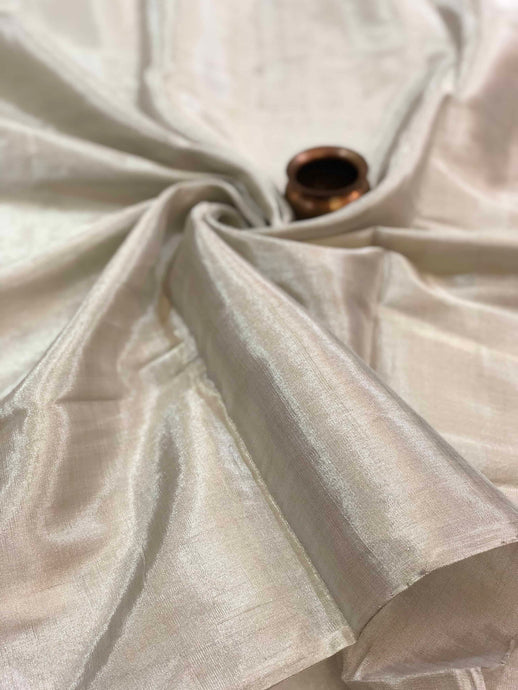 Silver Silk Tissue Chanderi Fabric